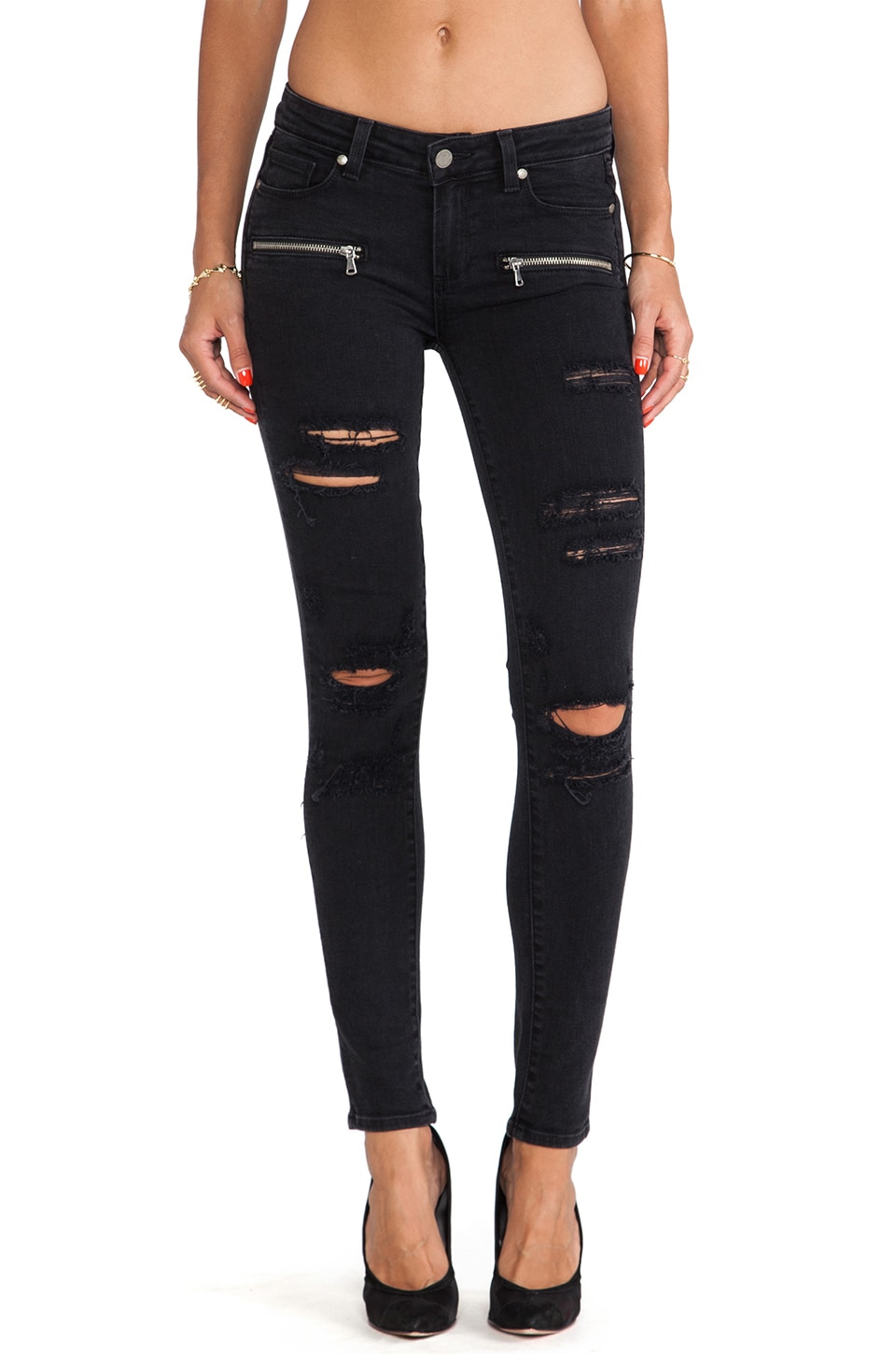 Paige Denim Indio Zip Ultra Skinny in Ramone Destructed