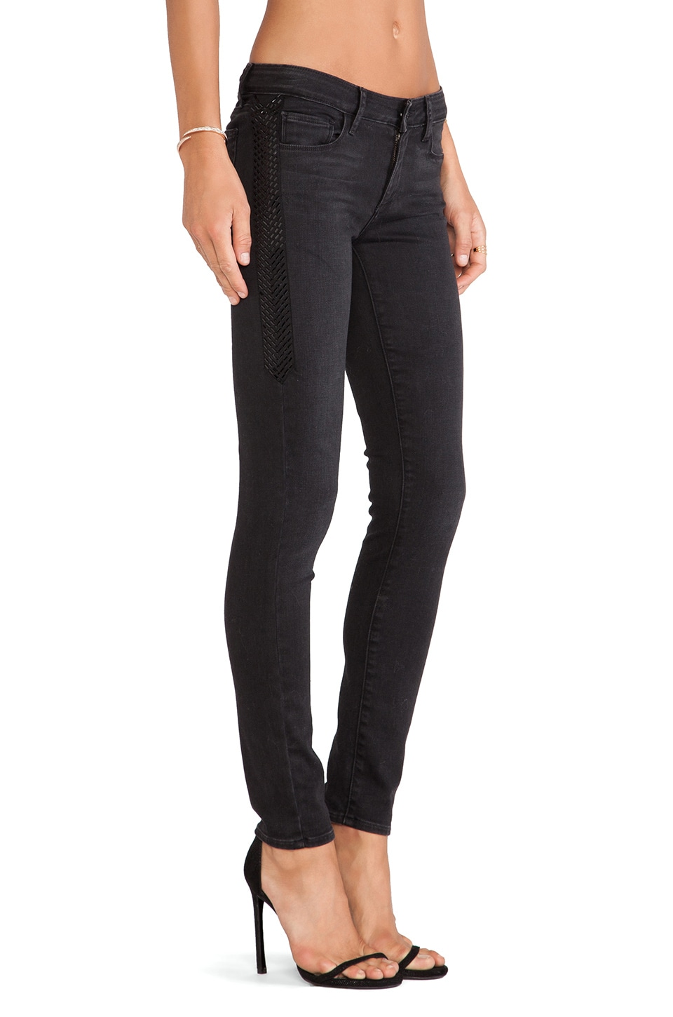 Paige Denim Pieced Verdugo Dart Skinny in Cleo Dart Embellished