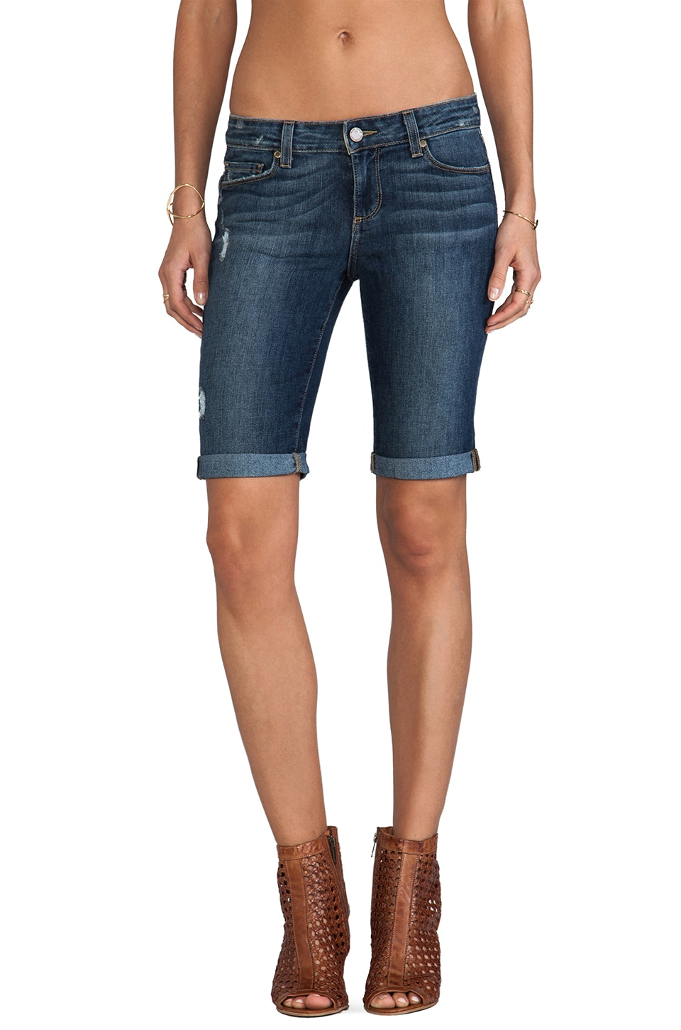 Paige Denim Jax Knee Short in Luca
