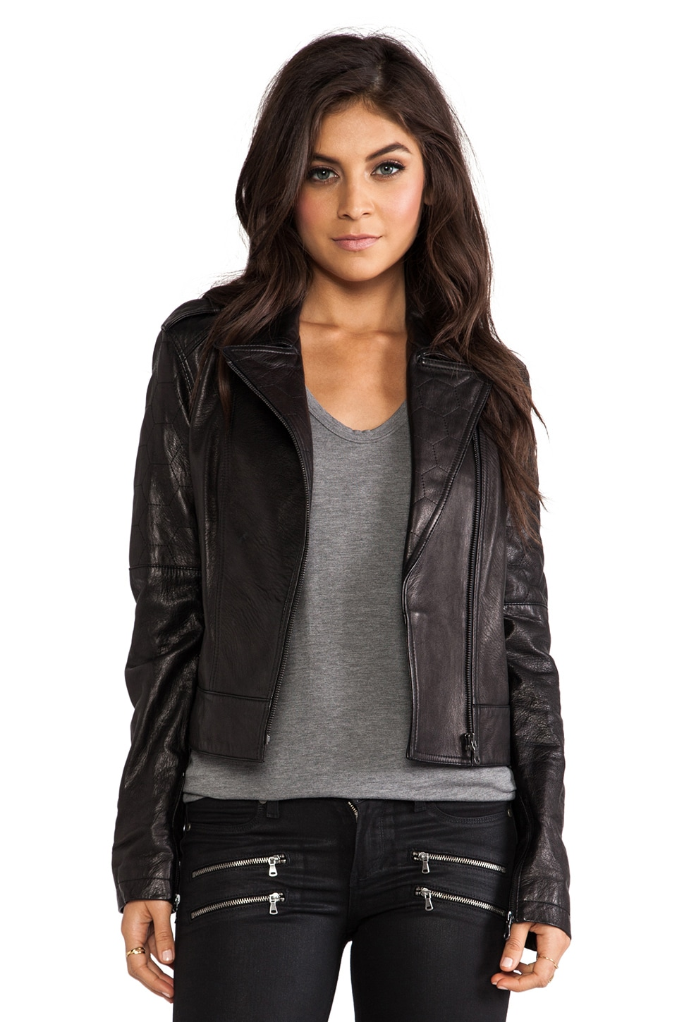 Paige Denim Sacha Leather Jacket in Black