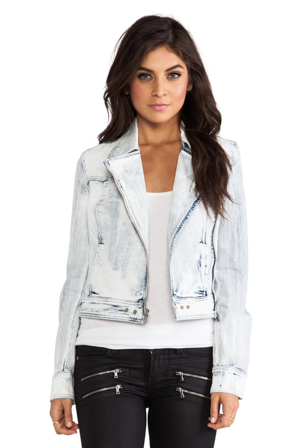 PAIGE Brooklyn Denim Moto Jacket in Snowfall