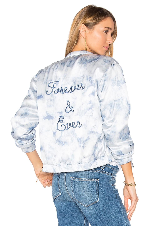 PAIGE Rosie HW x PAIGE Flo Bomber Jacket in Tie Dye Blue