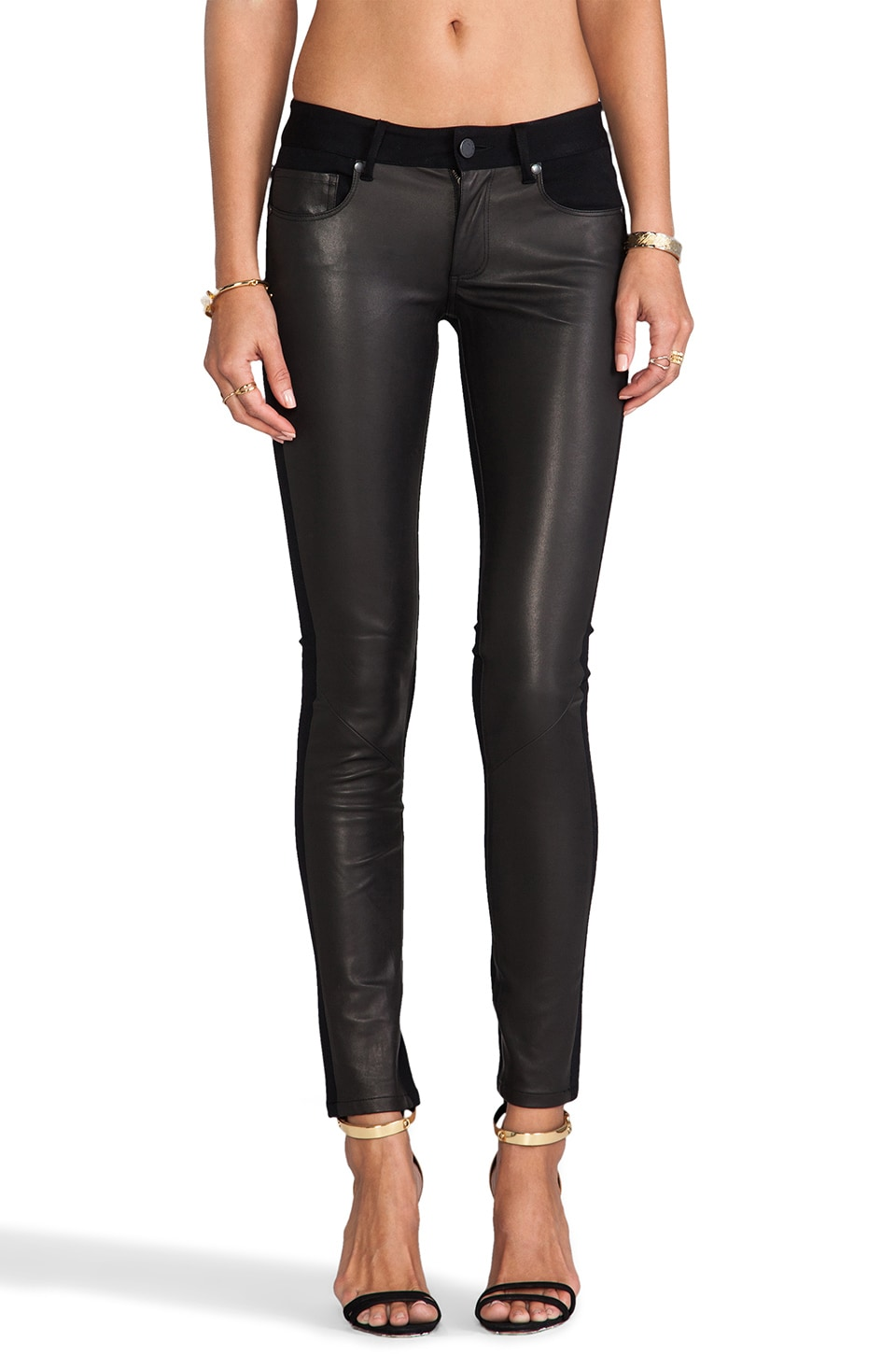 Paige Denim Emily Ponte Leather Pant in Black