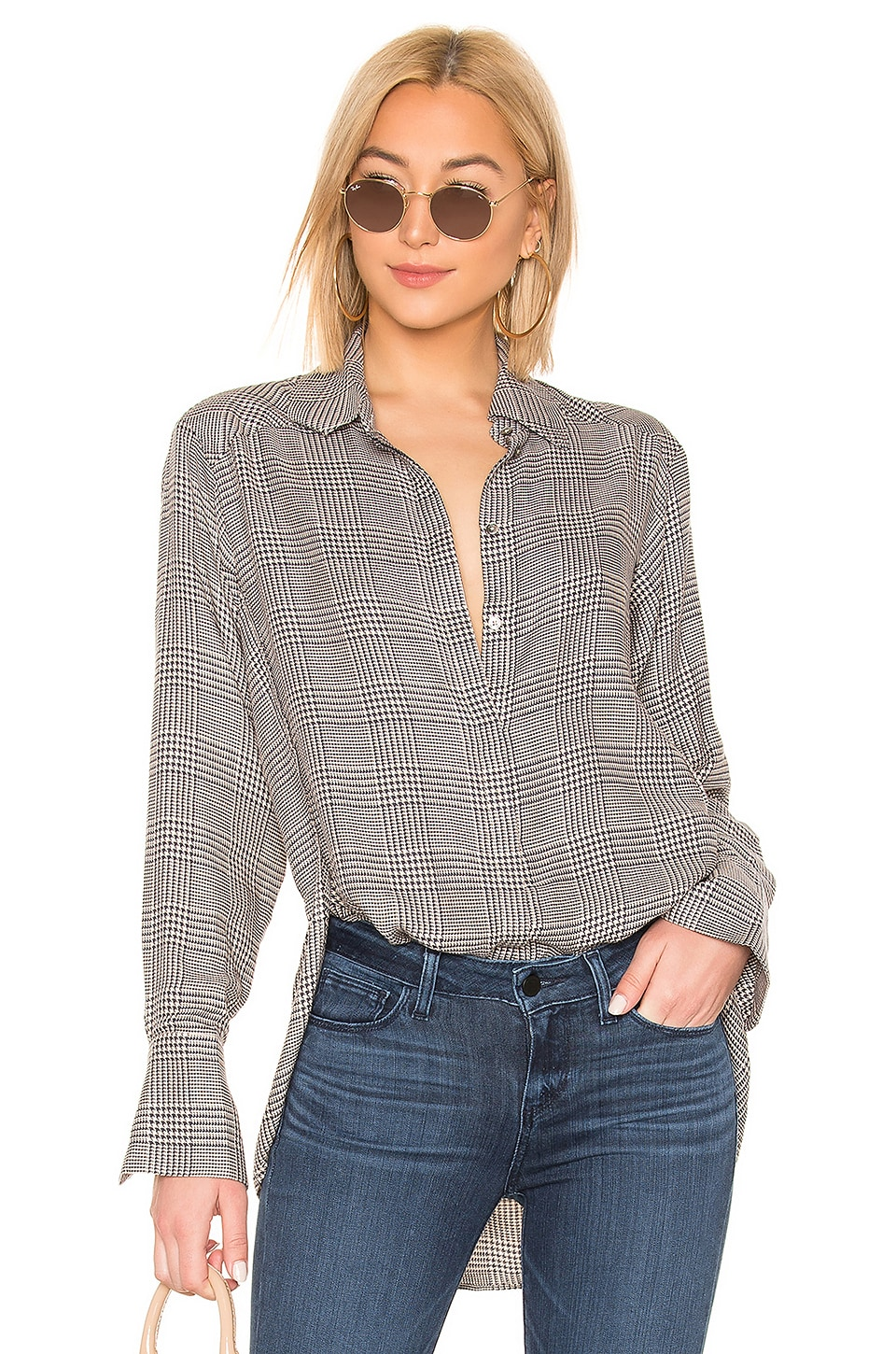 PAIGE Clemence Shirt in Cream Tan & Ombre Blue