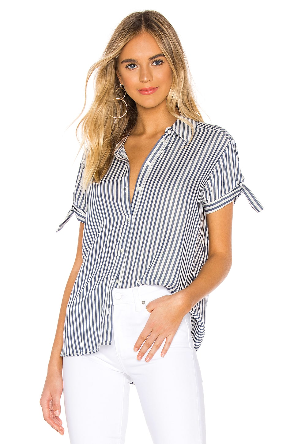 PAIGE Avery Shirt in Navy & White