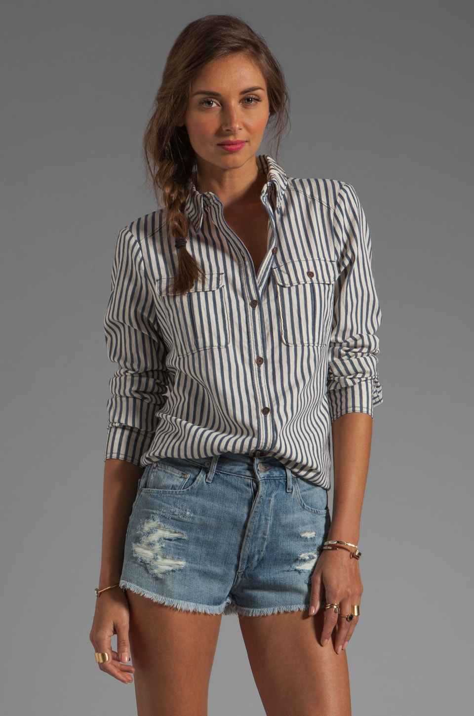 PAIGE Kadie Shirt in Voyage Stripe