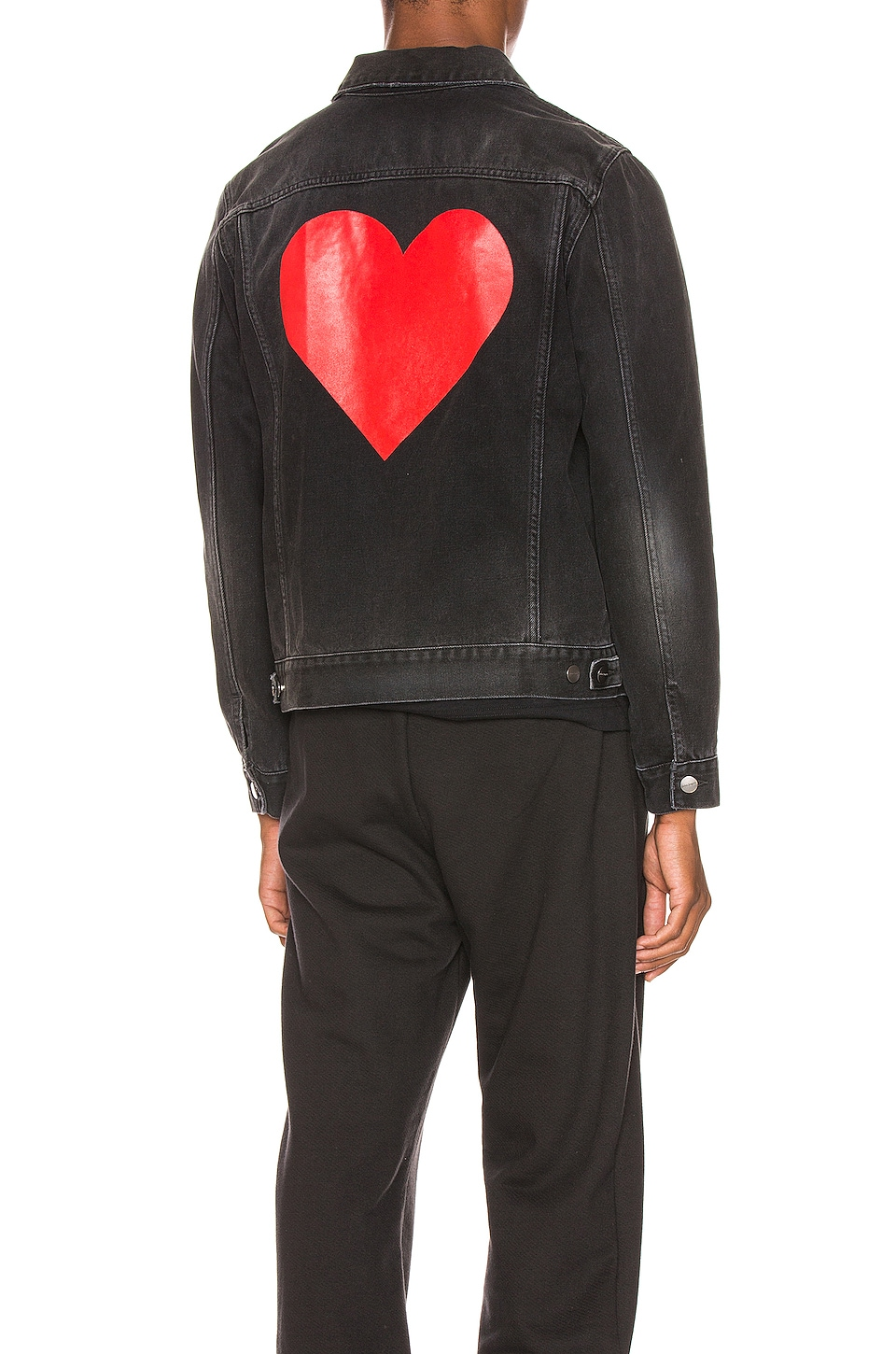 Palm Angels Pin My Heart Denim Jacket in Black