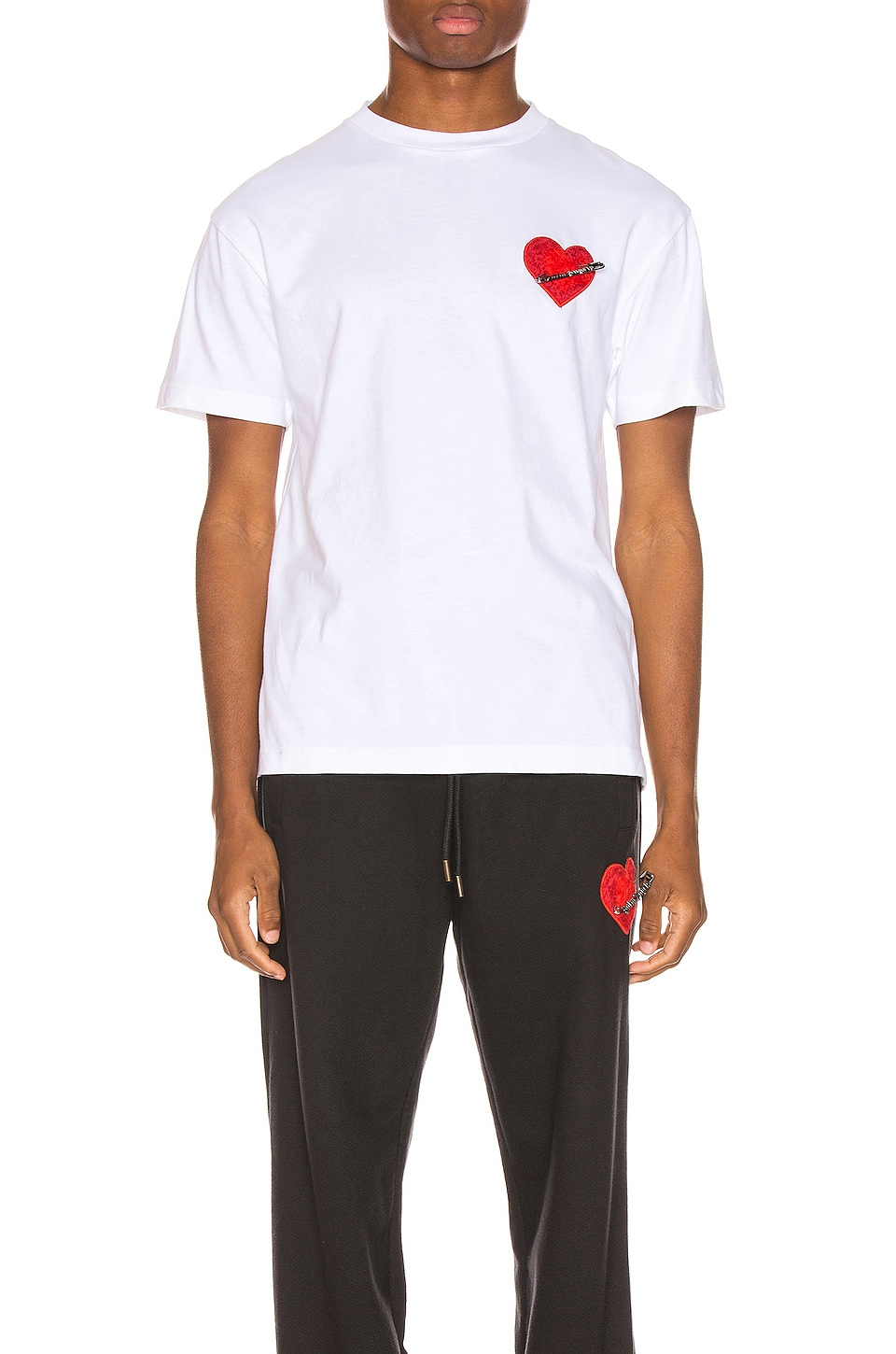 Palm Angels Pin My Heart Tee in White & Multi