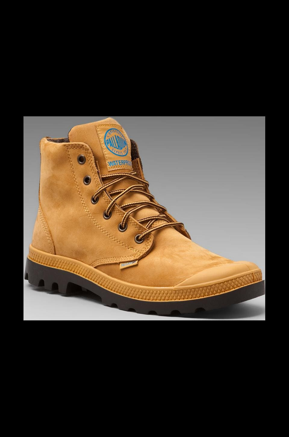 Palladium Waterproof Pampa Hi in Amber Gold/Chocolate