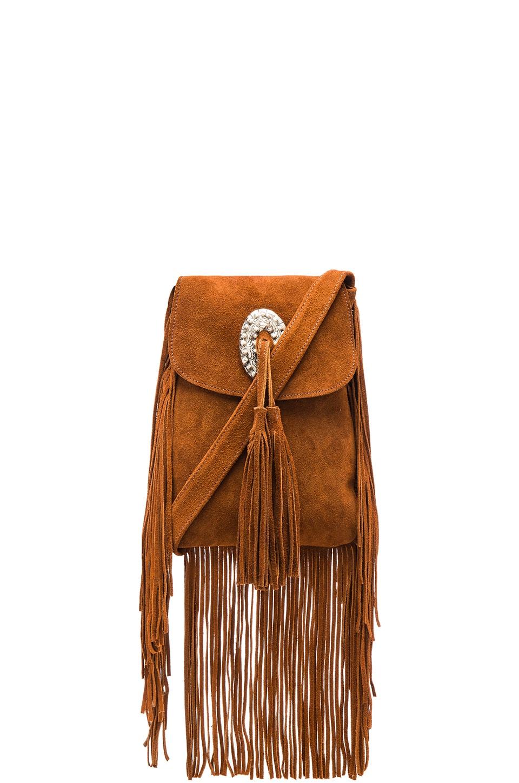 Pamela V. Coyote Suede Crossbody Bag in Tan