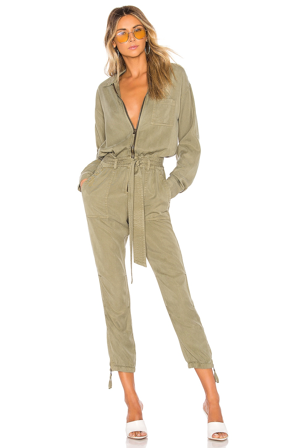 Pam & Gela Zip Jumpsuit in Vetiver