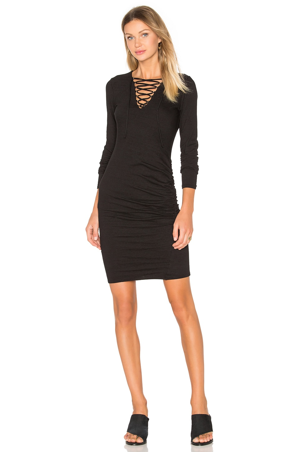 Lace Up Ruched Dress by Pam & Gela