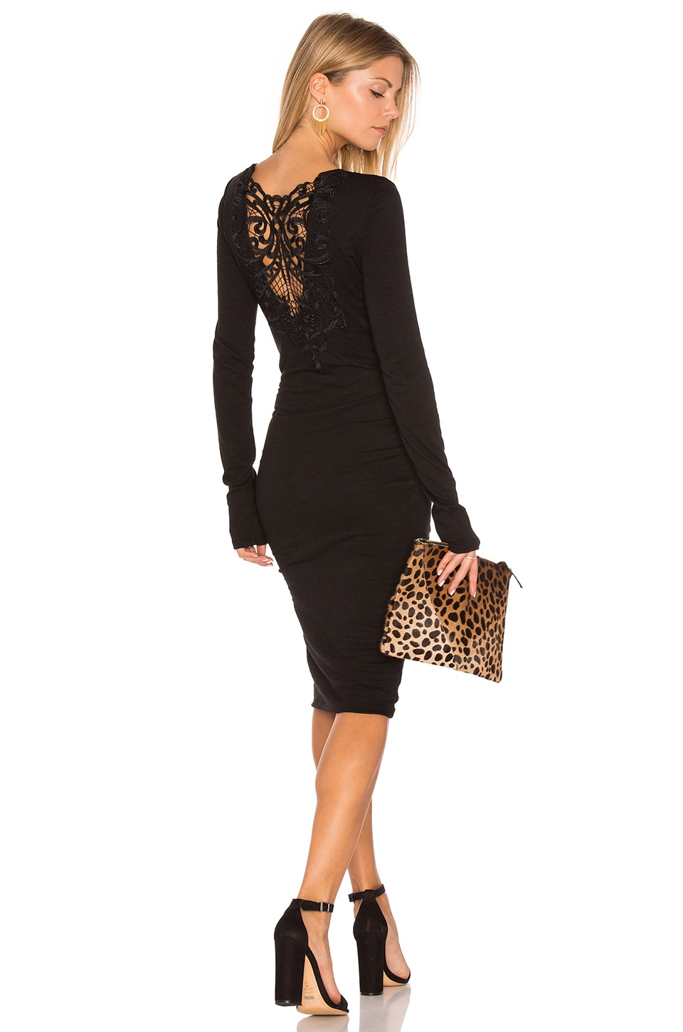 Long Sleeve Ruched Lace Dress by Pam & Gela