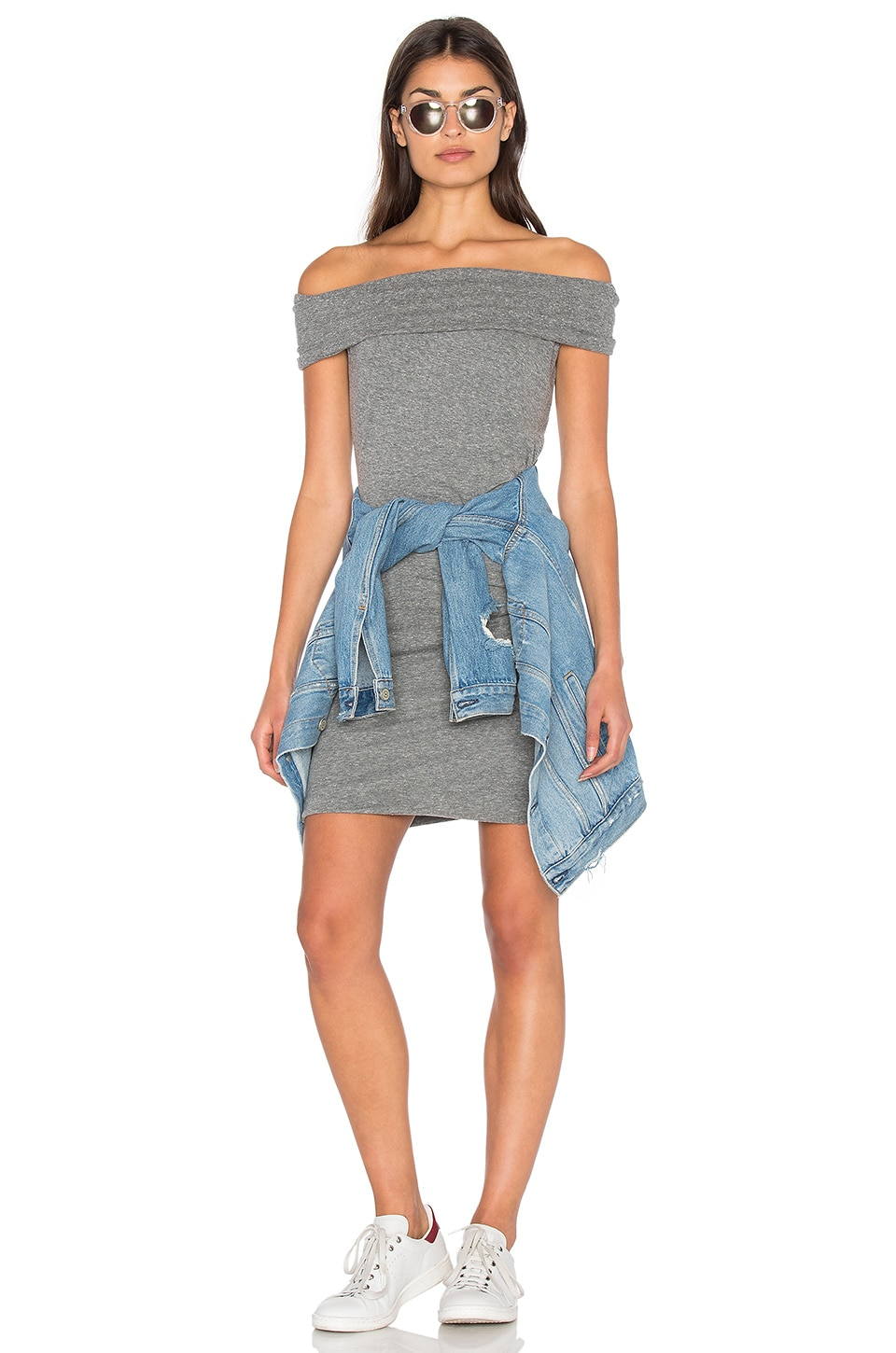 Pam & Gela Off Shoulder Dress in Heather Grey
