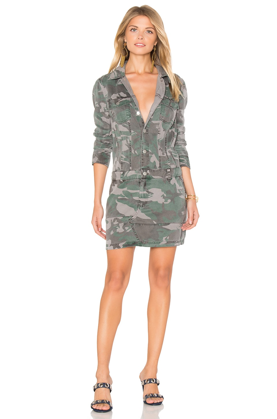 Pam & Gela Button Up Dress in Camo