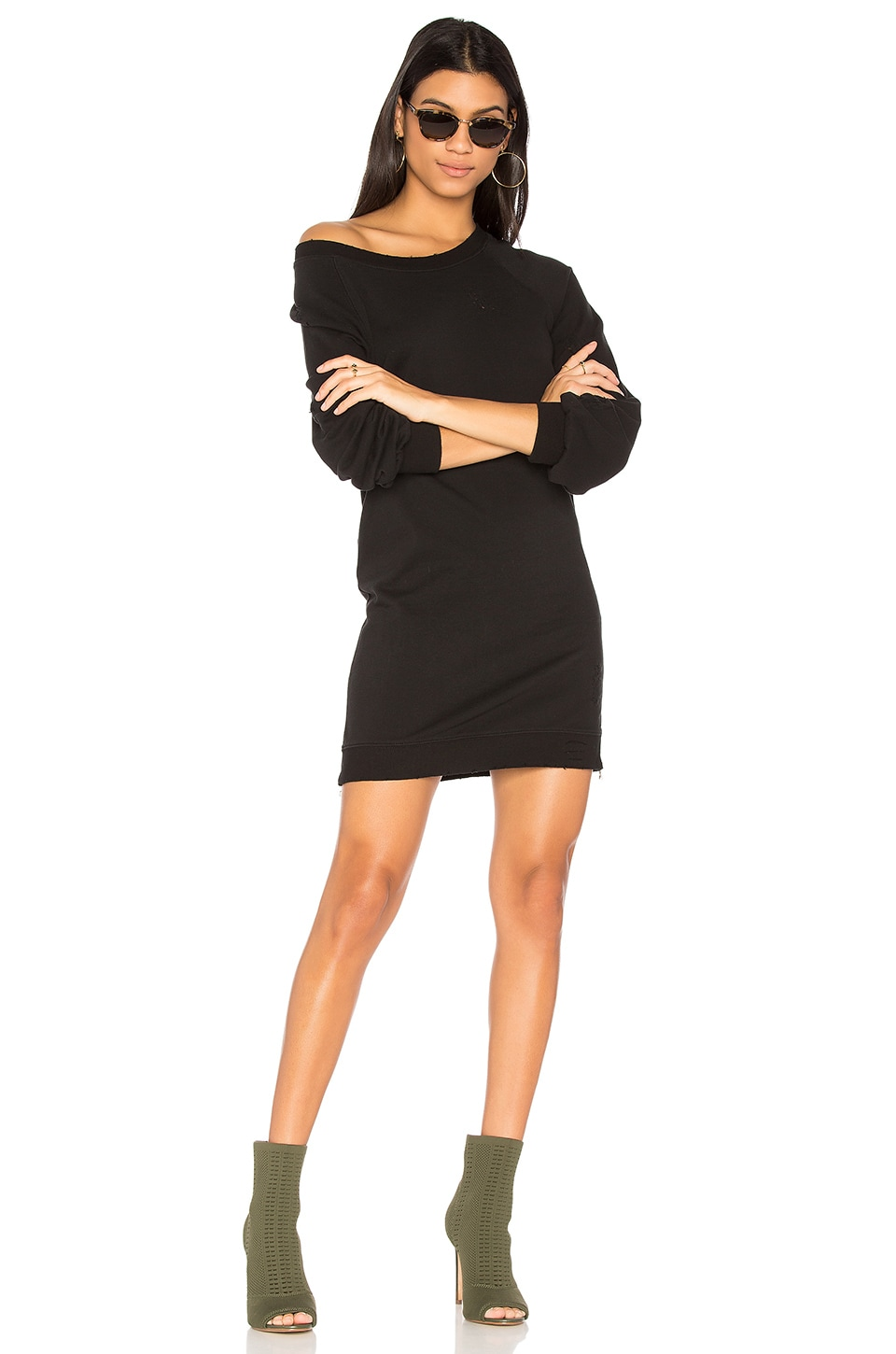 Pam & Gela Destroyed Off Shoulder Dress in Black