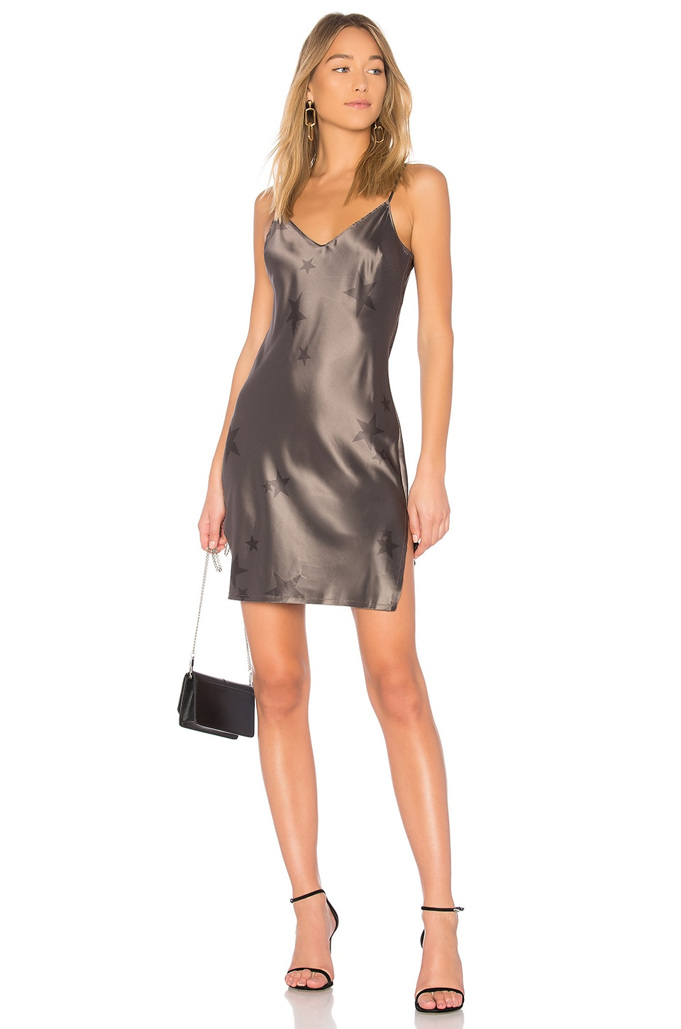 Pam & Gela Star Slip Dress in Steel Star Print