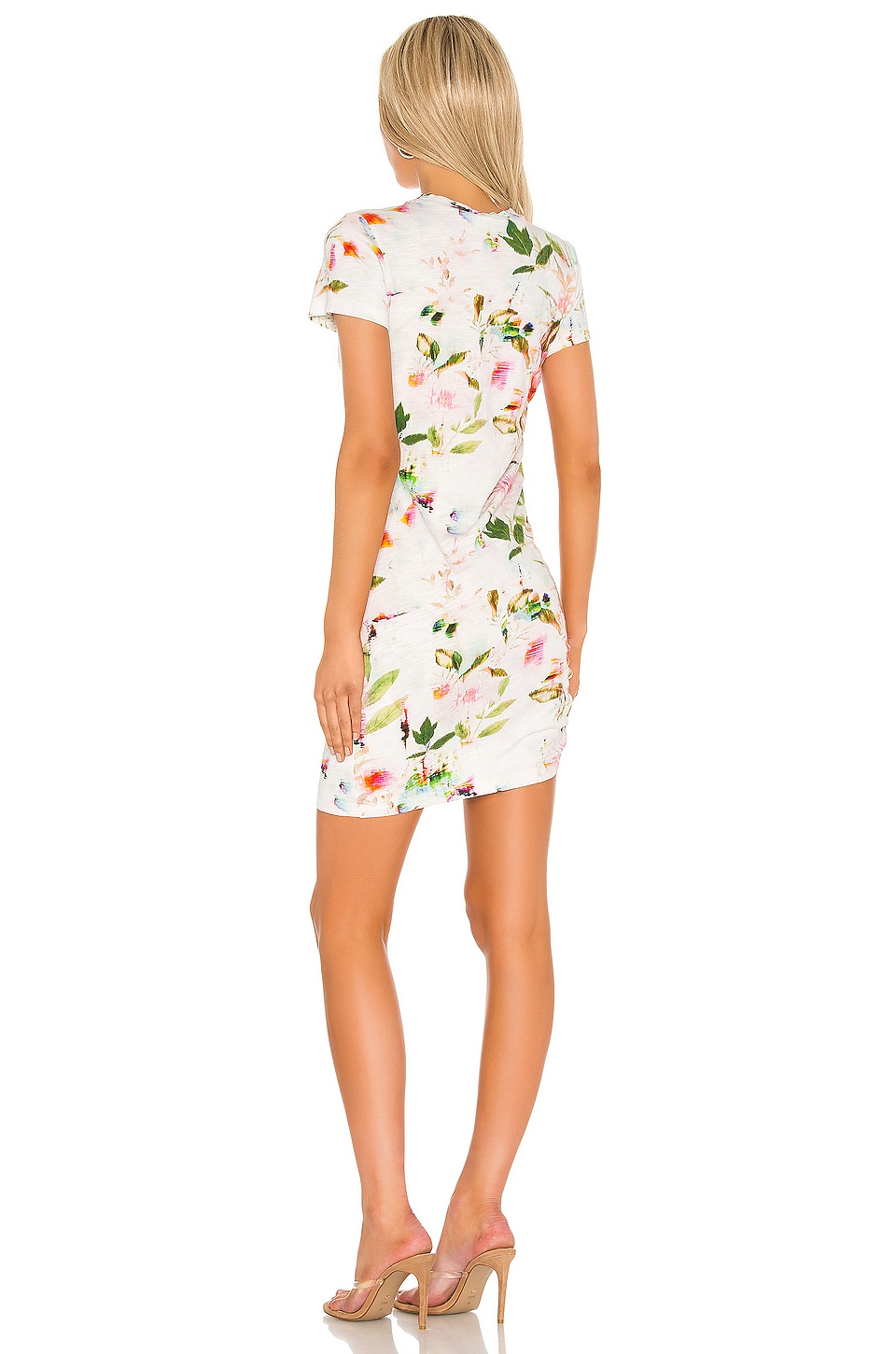 Short Sleeve Side Shirred Mini Dress, view 3, click to view large image.