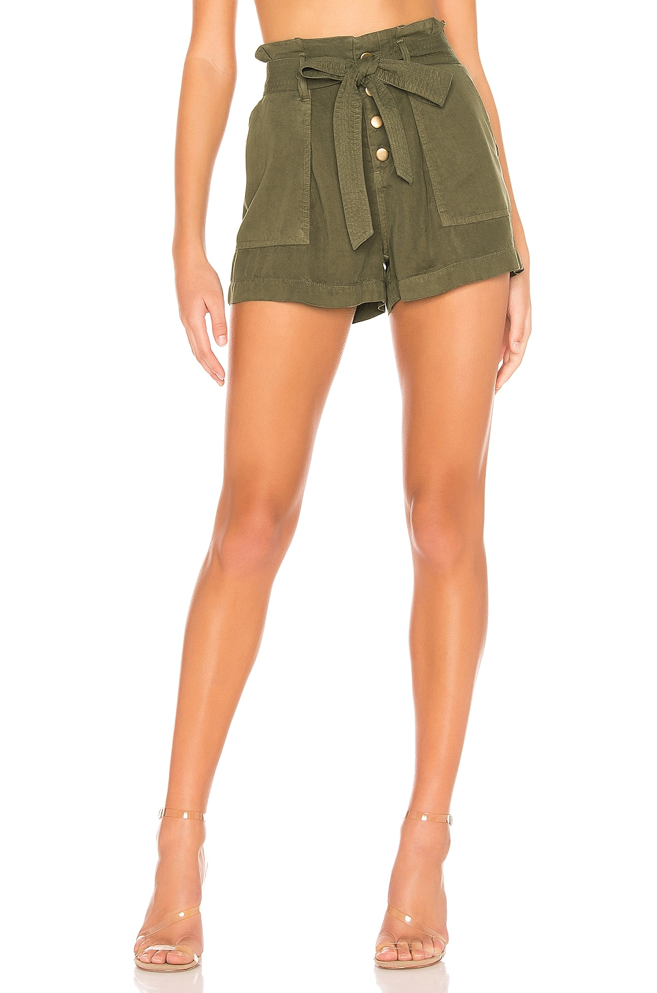 Pam & Gela Pleat Front Shorts en Army
