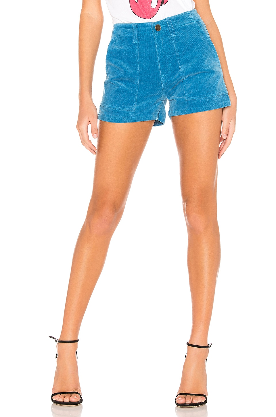 Pam & Gela Mid Rise Patch Pocket Shorts in Neptune Blue