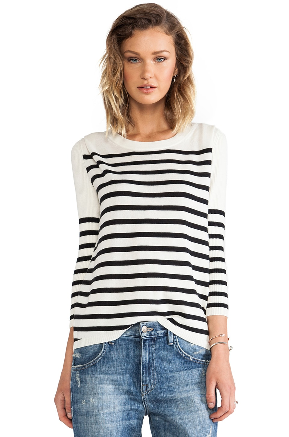 Pam & Gela Striped Pullover in Cream & Black Stripe