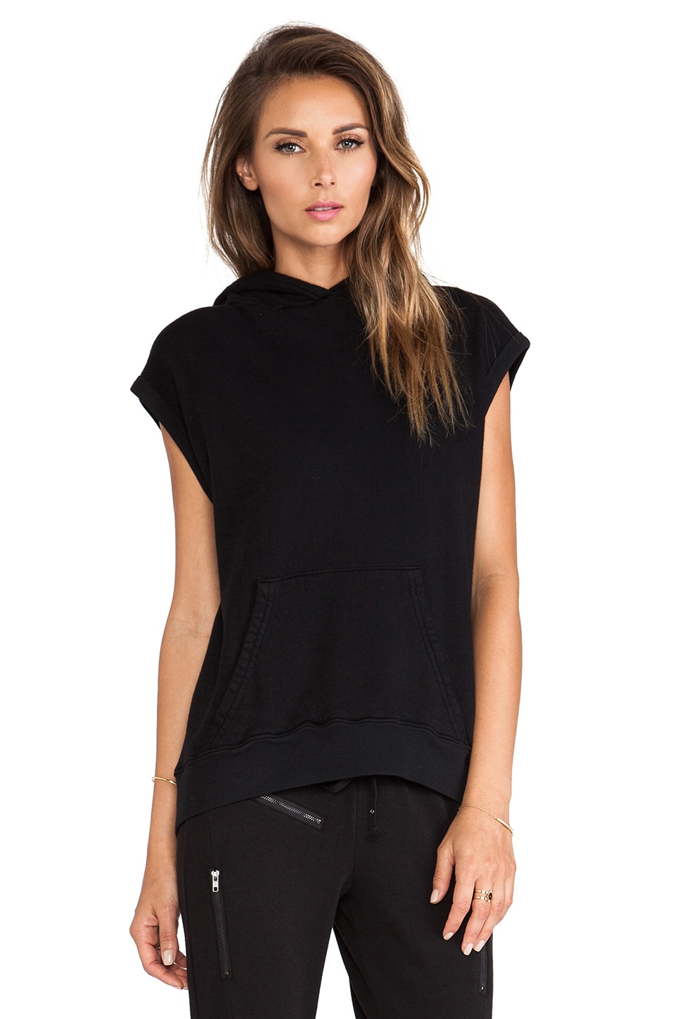 Pam & Gela Sleeveless Hooded Sweatshirt in Black