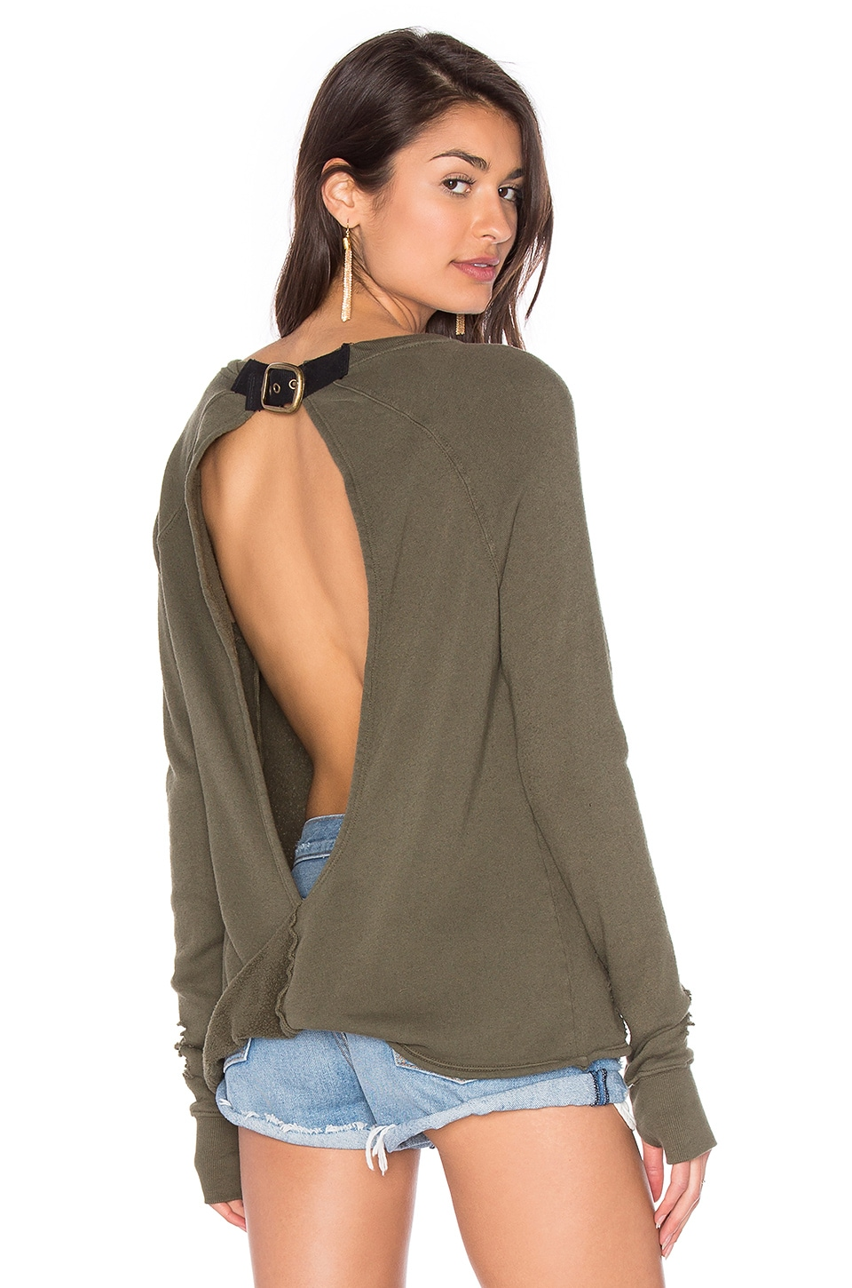 Pam & Gela x REVOLVE Destroyed Twist Back Sweater in Olive
