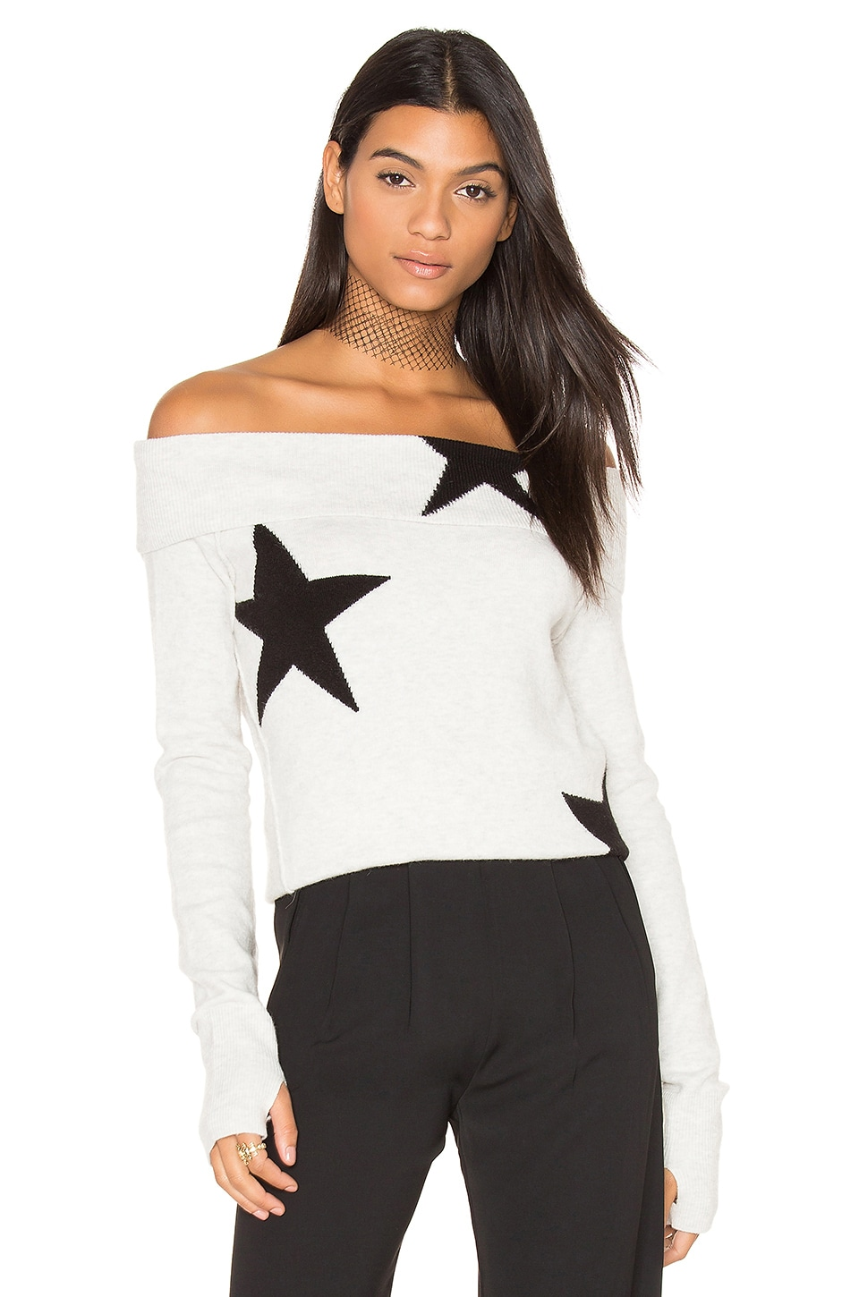 Pam & Gela Star Off Shoulder Sweater in Grey & Black