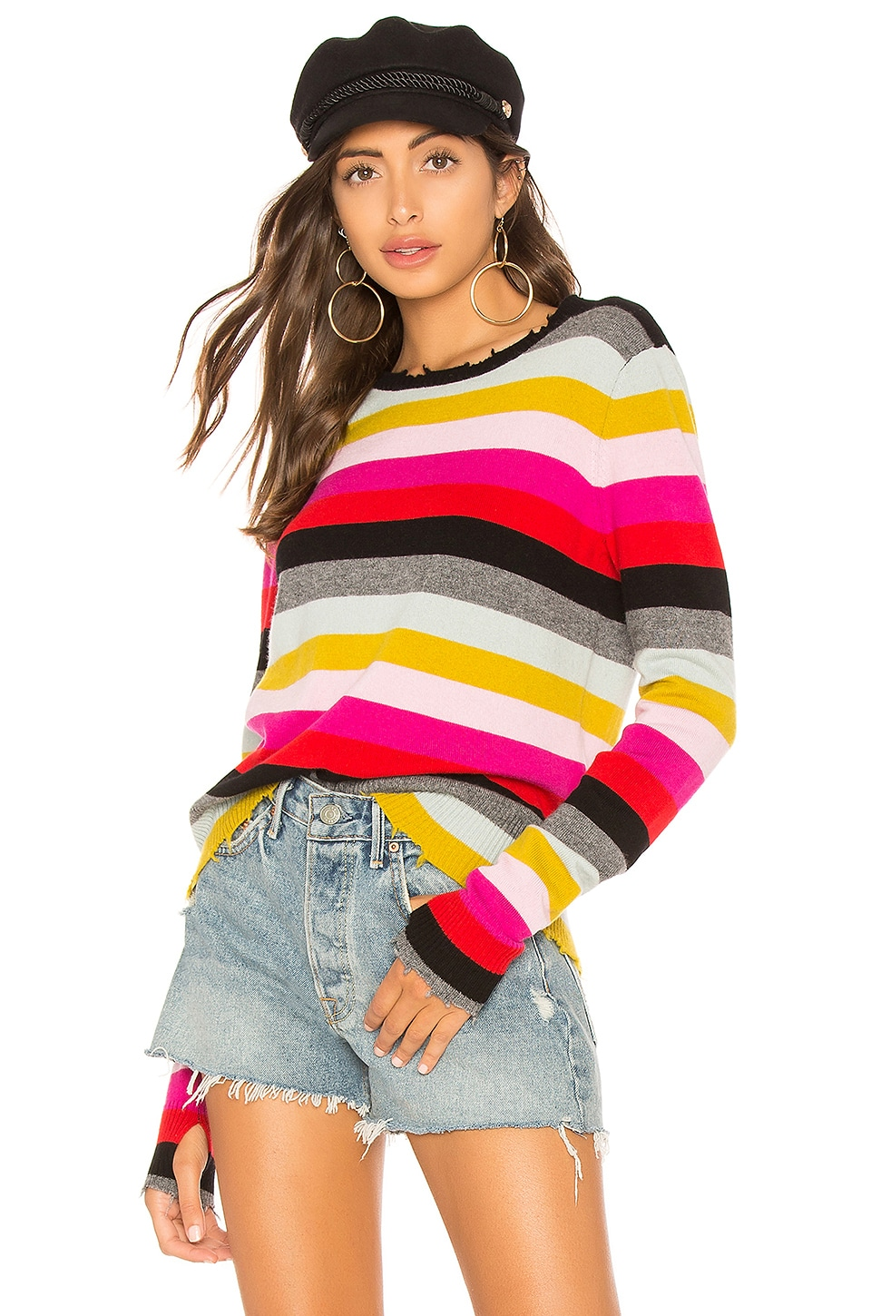 Multistripe Raw Edge Wool & Cashmere Blend Sweater in Multi Stripe
