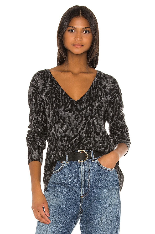 Pam & Gela Ocelot V Neck Sweater in Grey