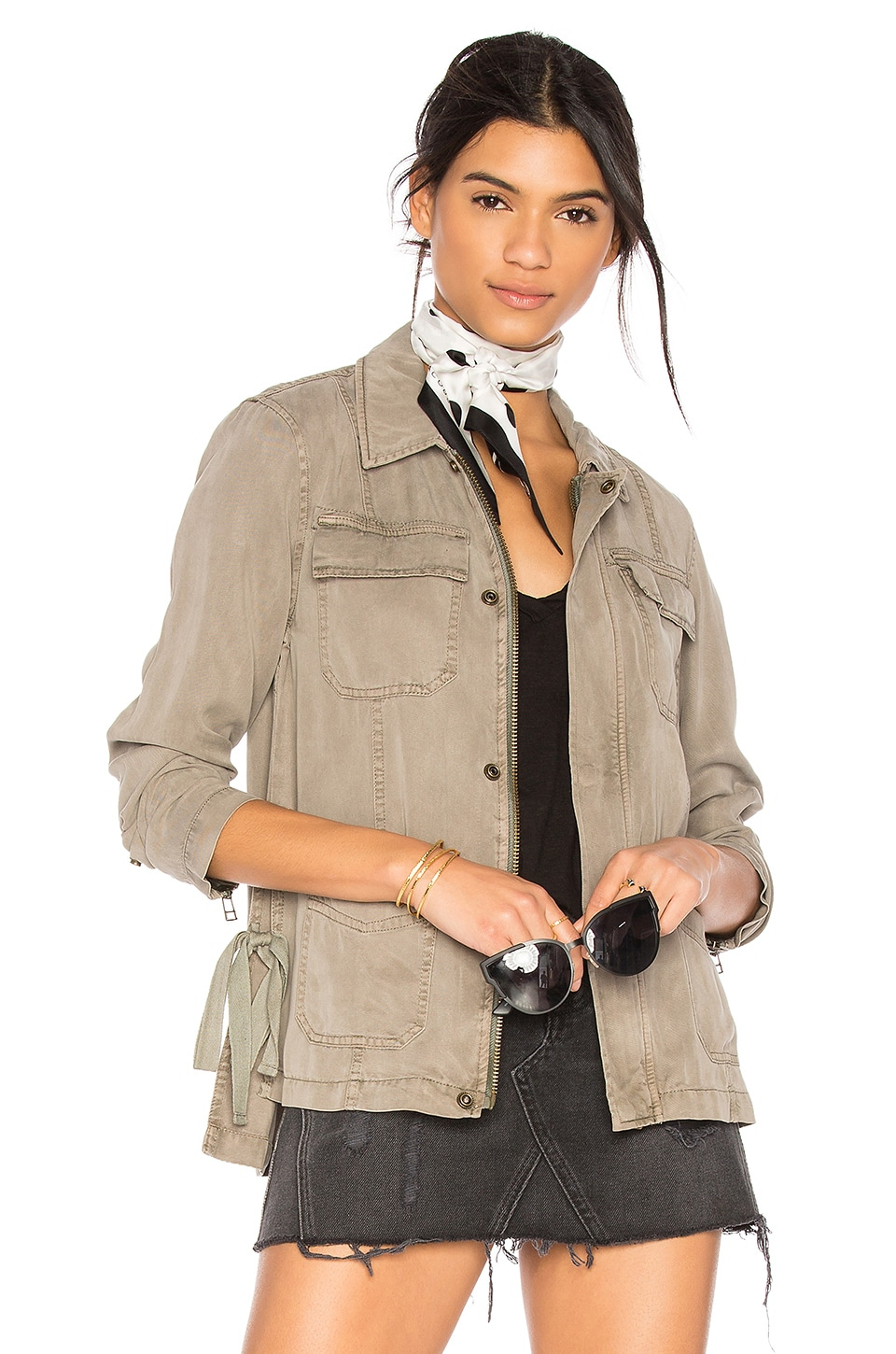 Pam & Gela Cargo Jacket With Side Ties in Sea Grass