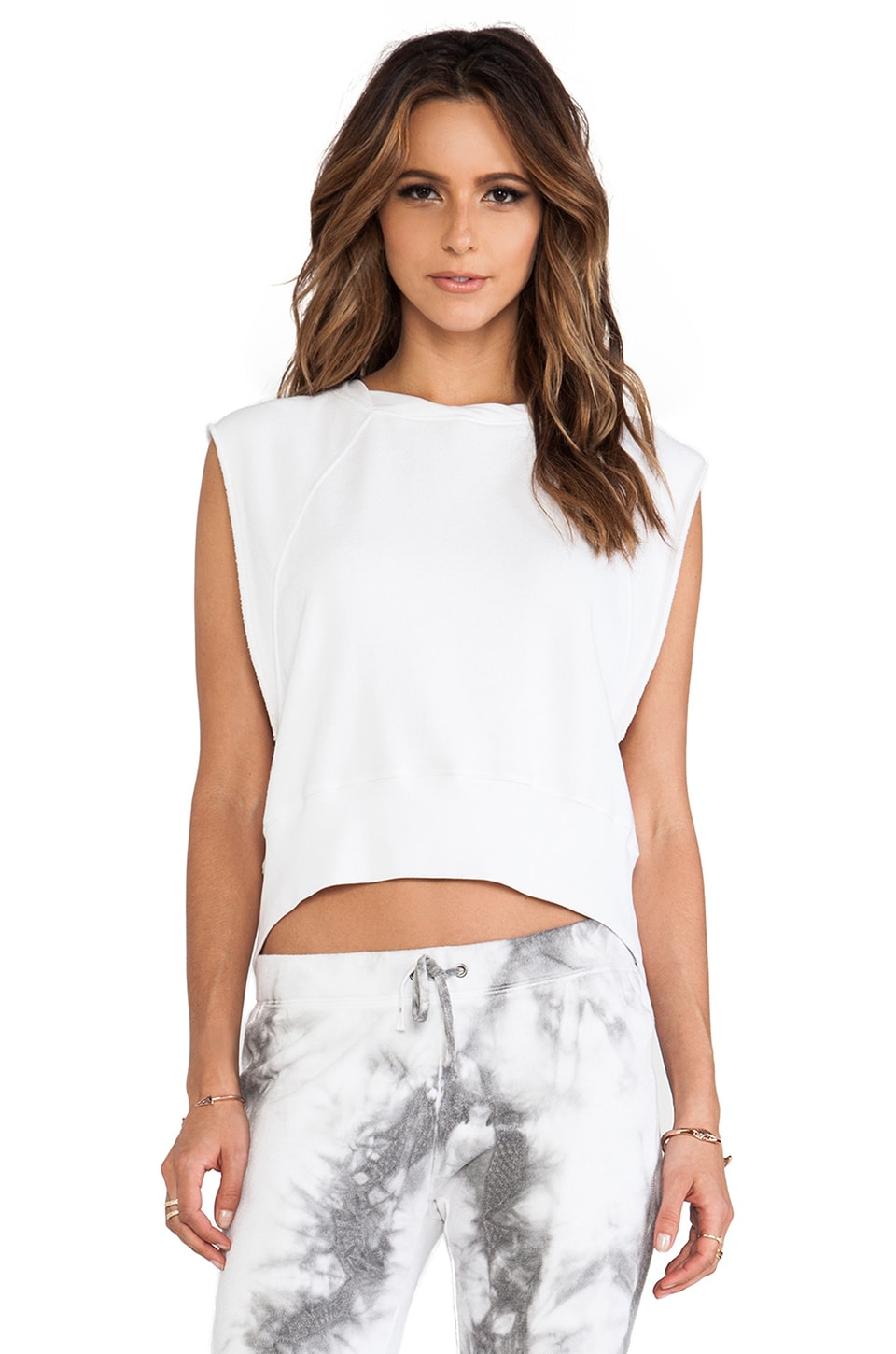 Pam & Gela Crop Muscle Sweatshirt in Optic White