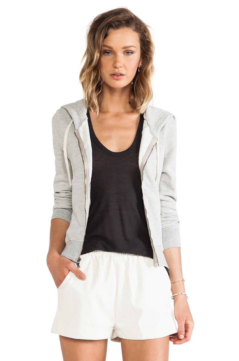 Pam & Gela Hi-Lo Zip Hoodie in Heather Grey