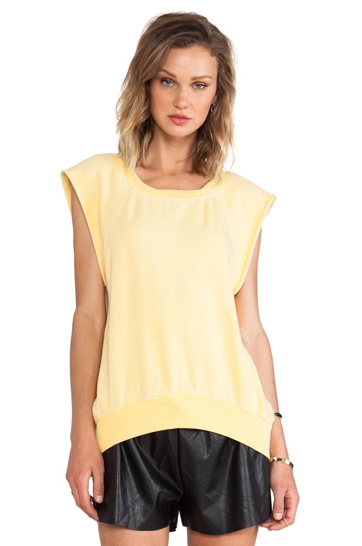 Pam & Gela Hi-Lo Short Sleeve Sweatshirt in Yellow