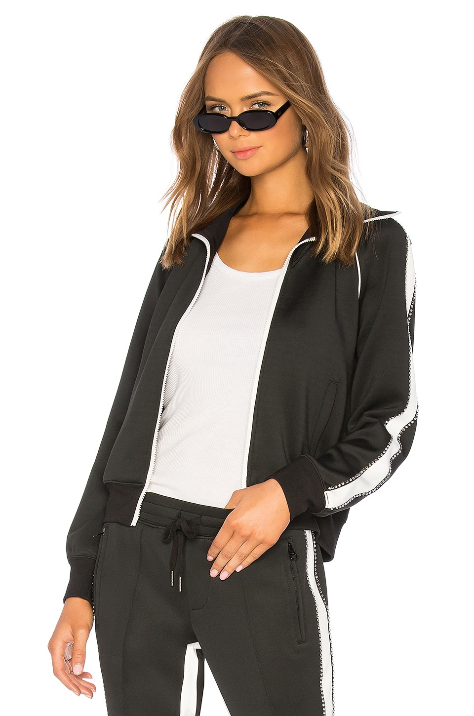Pam & Gela Rhinestone Racing Stripe Track Jacket in Black