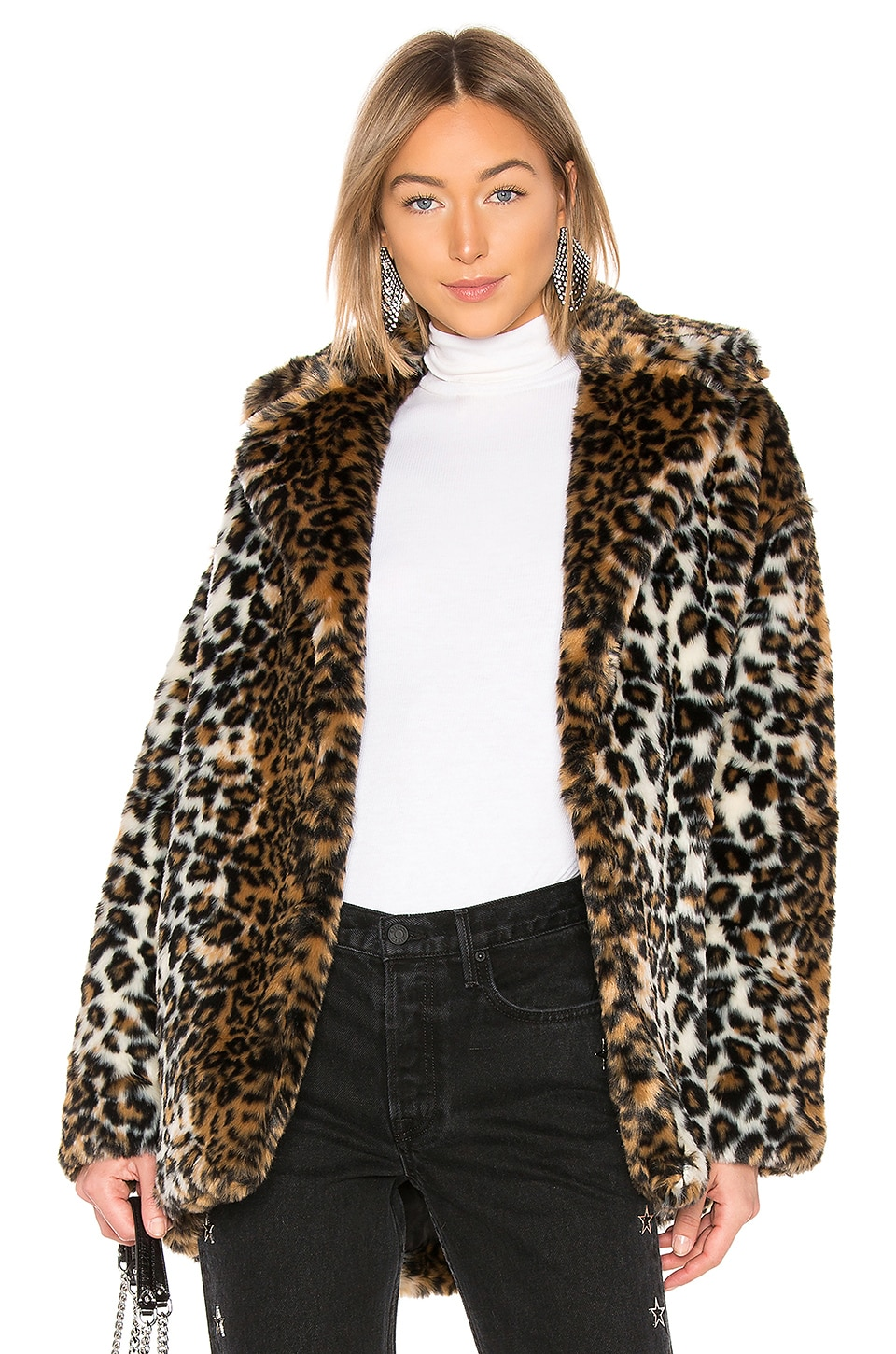 Pam & Gela Faux Fur Coat in Leopard