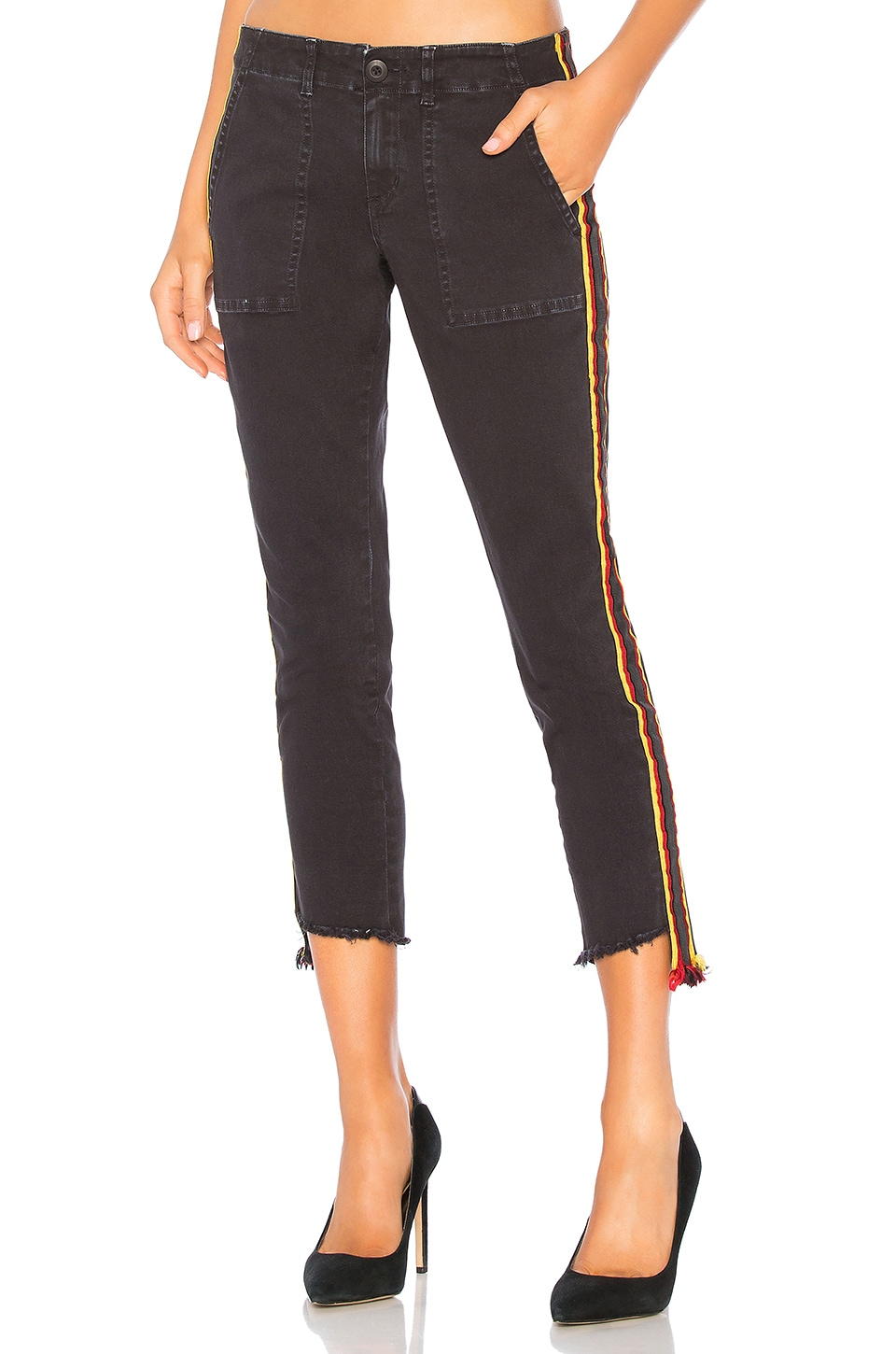 Pam & Gela Uniform Side Stripe Pant in Vintage Black