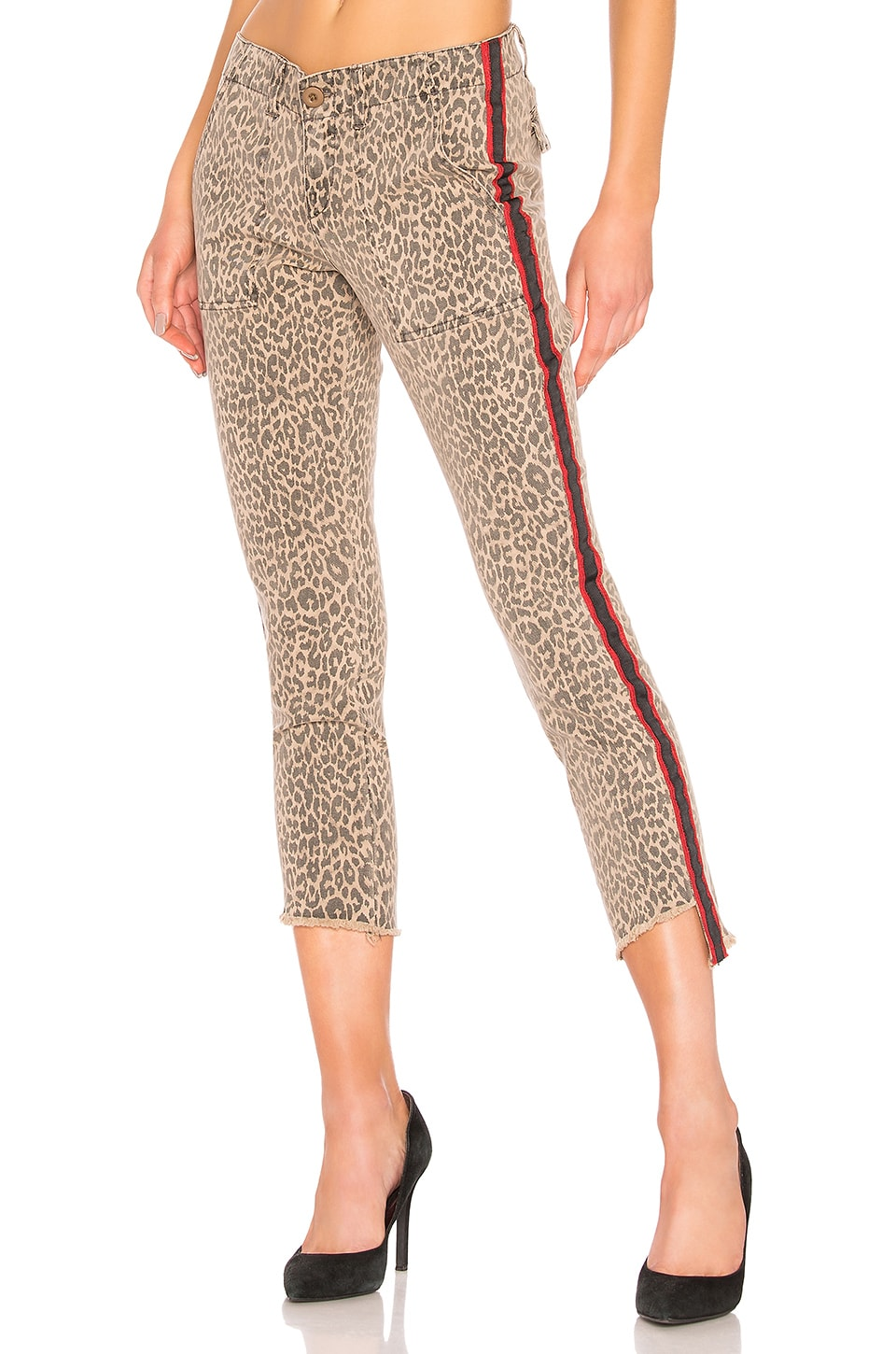Pam & Gela Uniform Side Stripe Step Hem Pant in Leopard