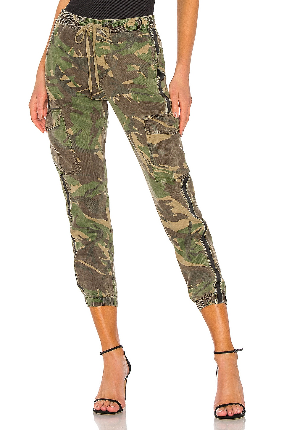 Pam & Gela Side Stripe Cargo Pant in Army Camp in Army Camo