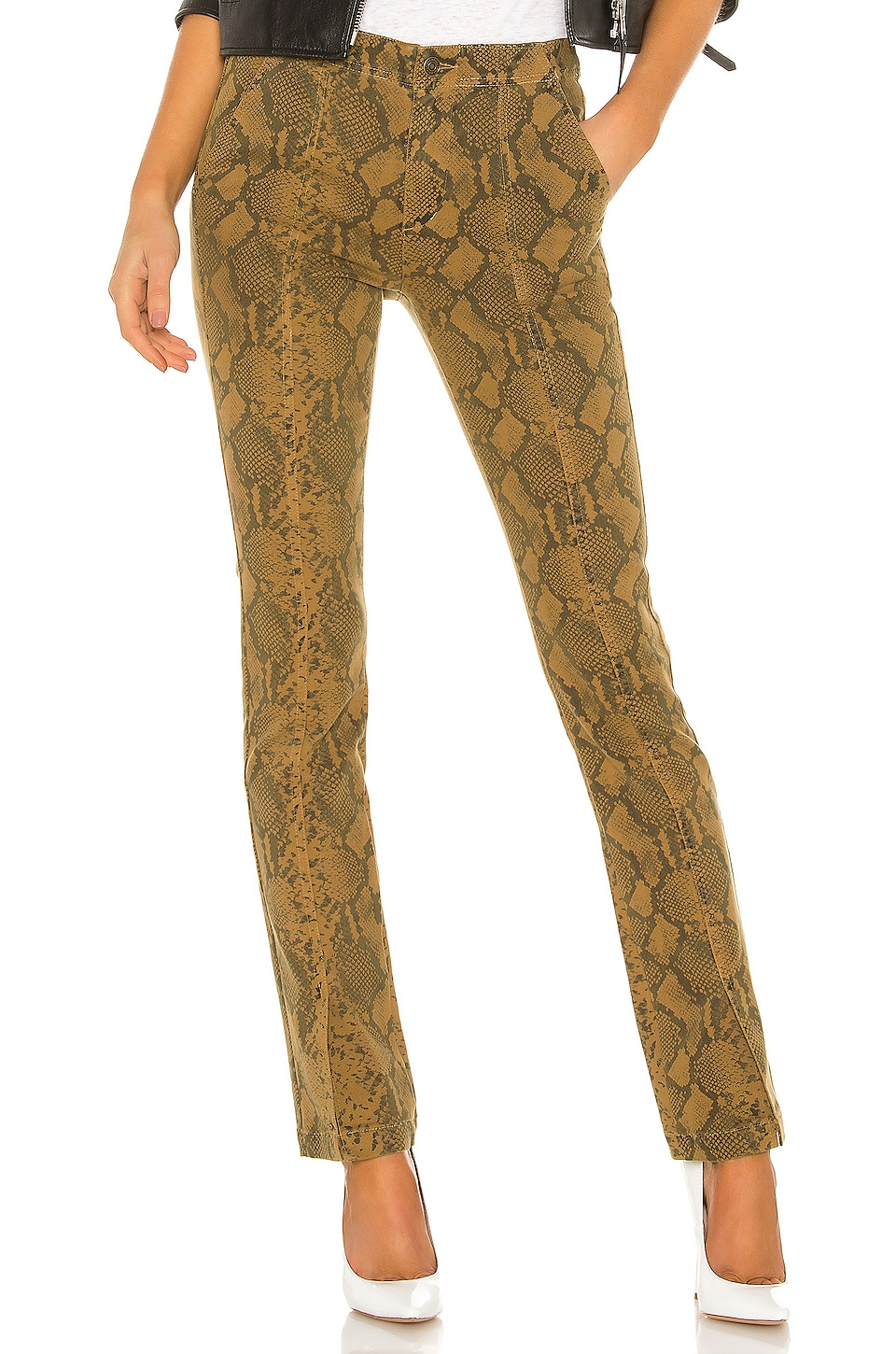 Pam & Gela Seamed Snake Baby Boot Pant in Chai