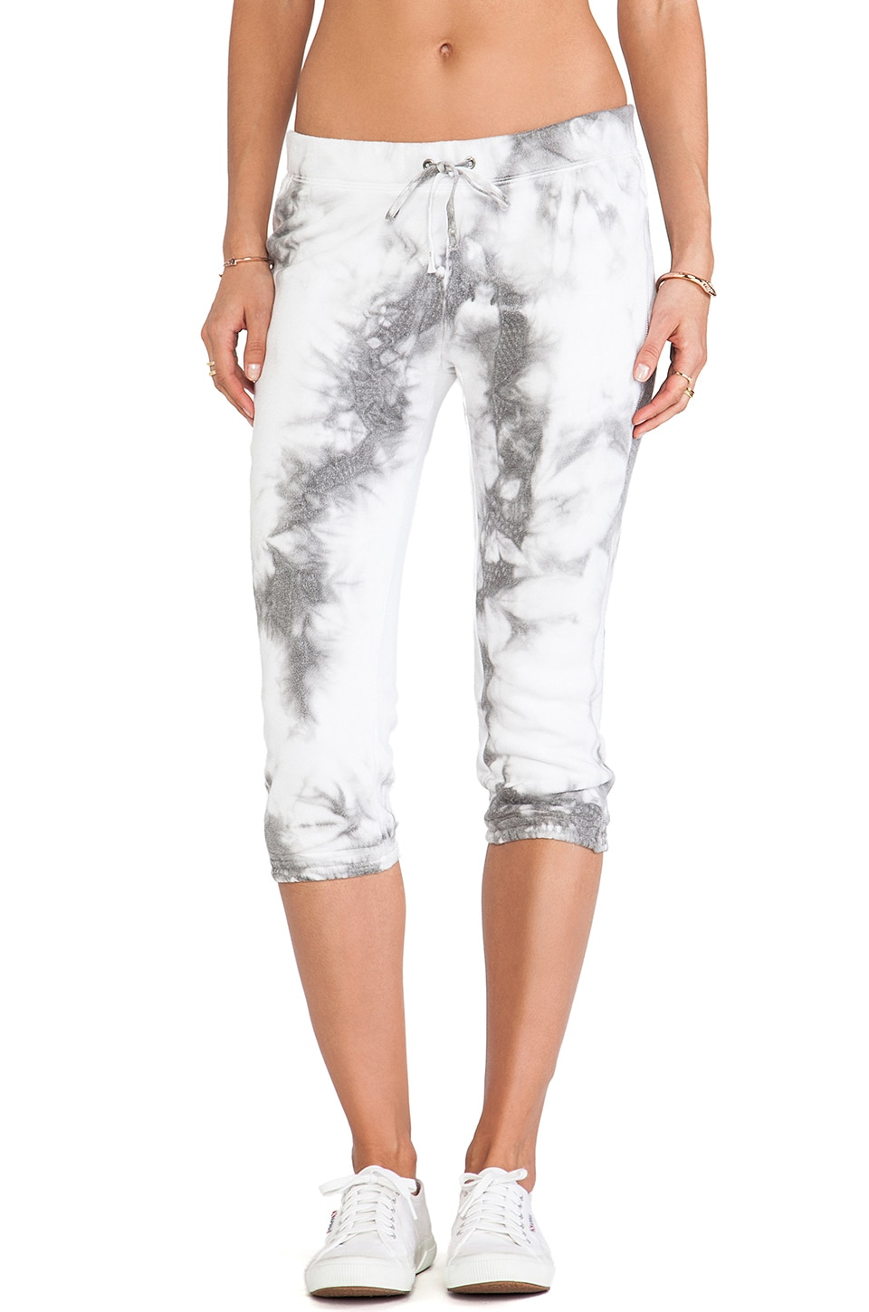 Pam & Gela Knee Crop Pant in Tie Dye Grey