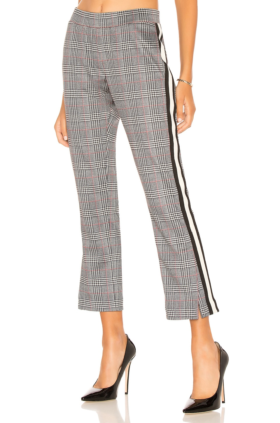 GLEN PLAID CROPPED SIDE-STRIPE TRACK PANTS