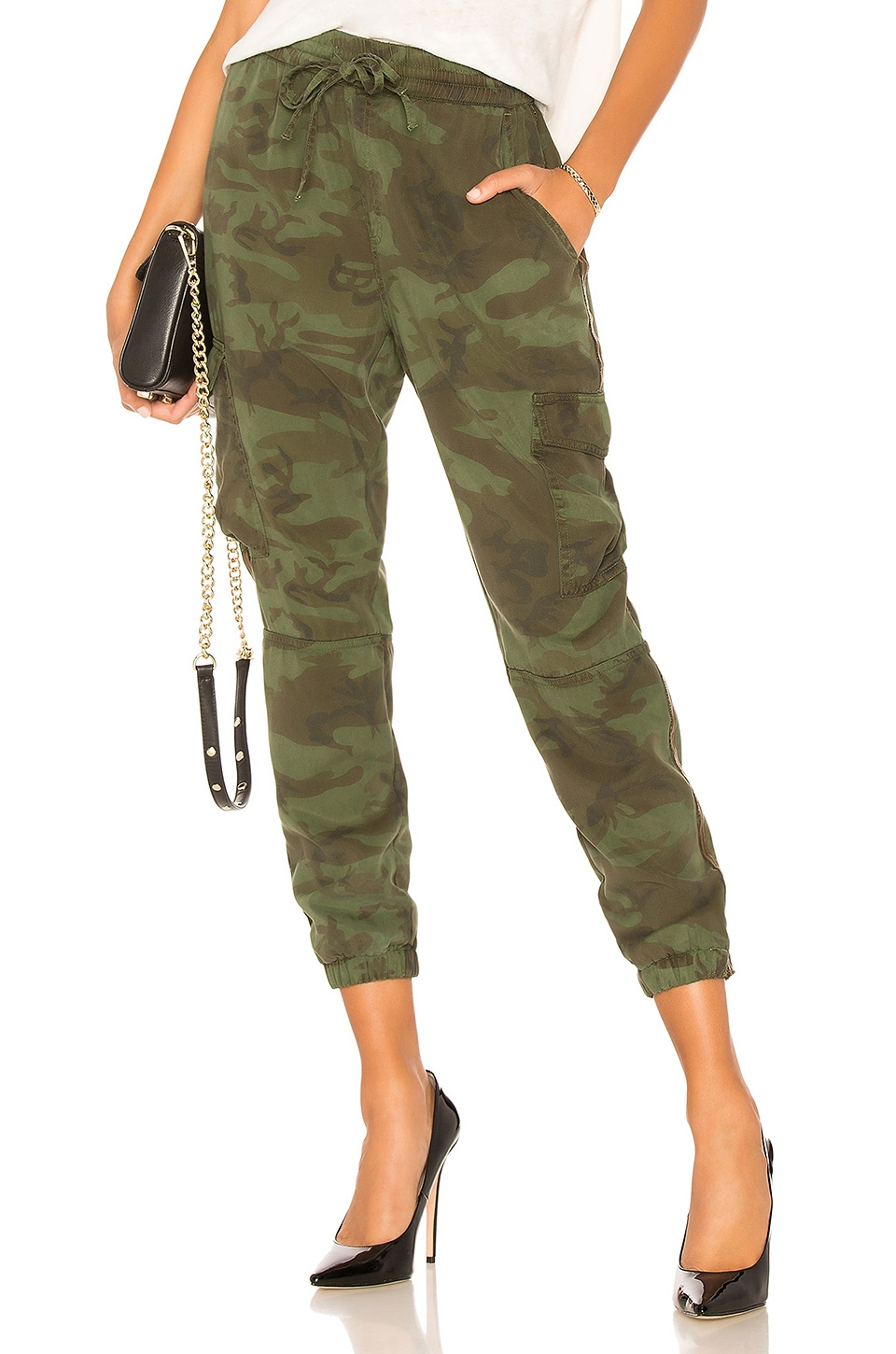 Side-Stripe Camo Jogger Pants in Army