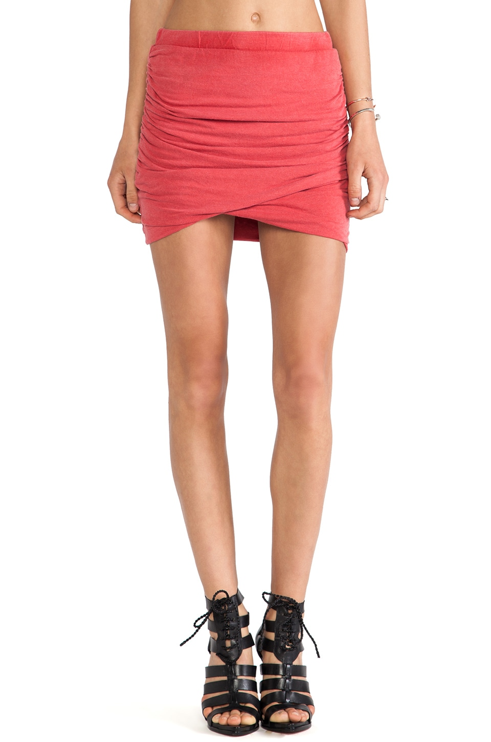 Pam & Gela Ruched Mini Skirt in Red