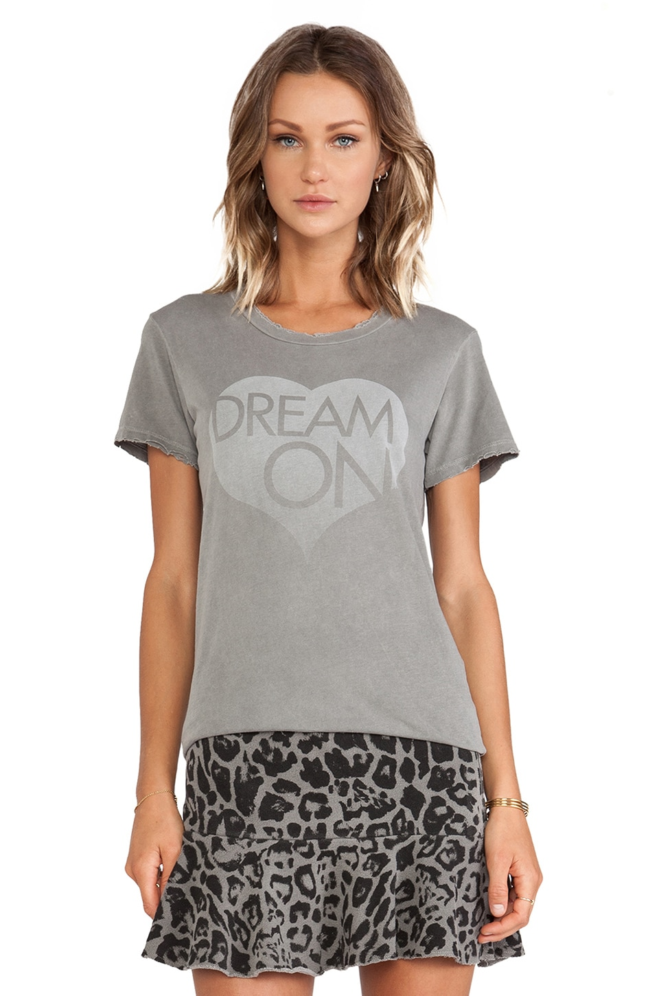 Pam & Gela Distressed Crew in Dream On Grey