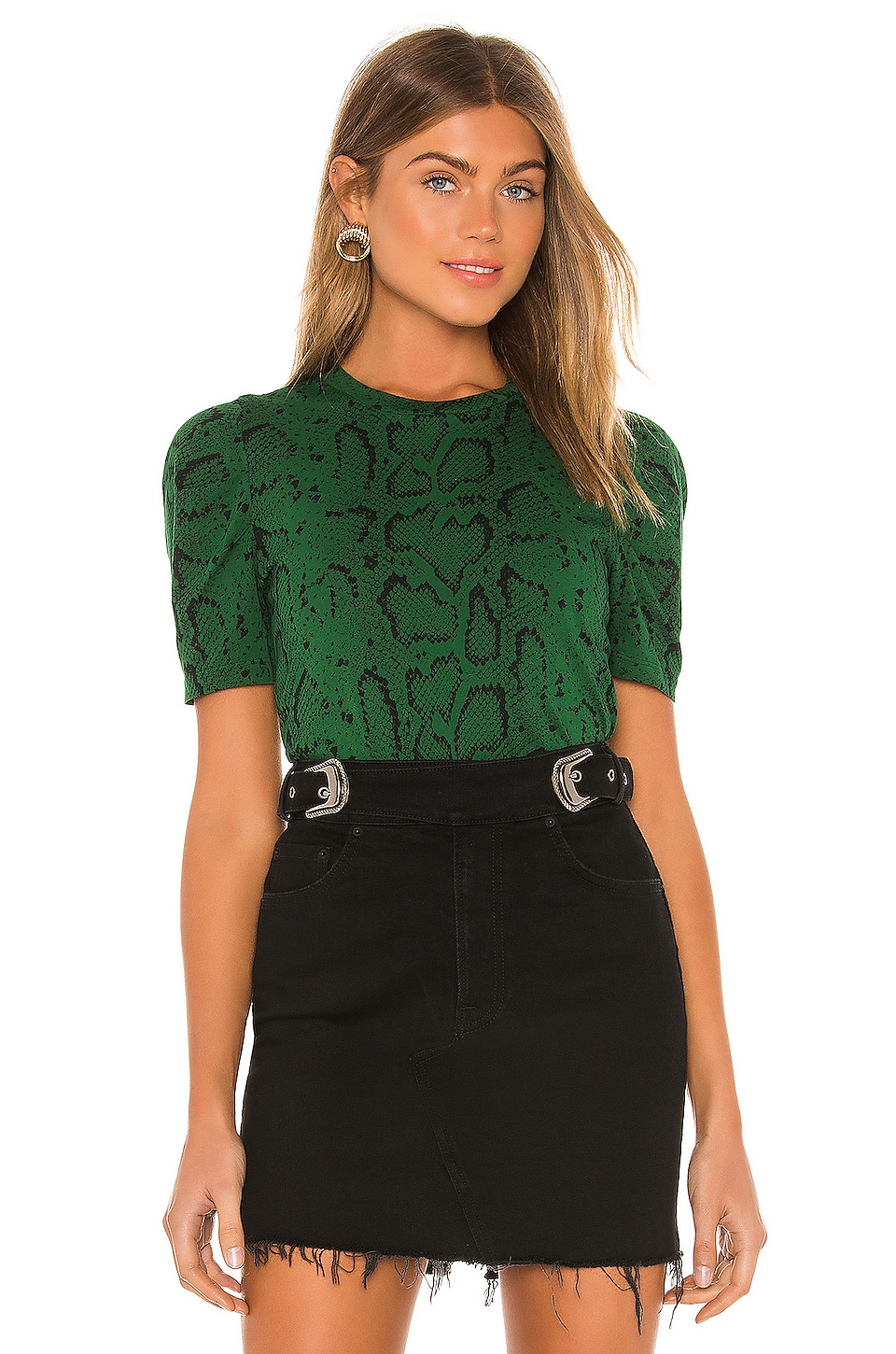 Pam & Gela Snake Puff Sleeve Tee in Evergreen