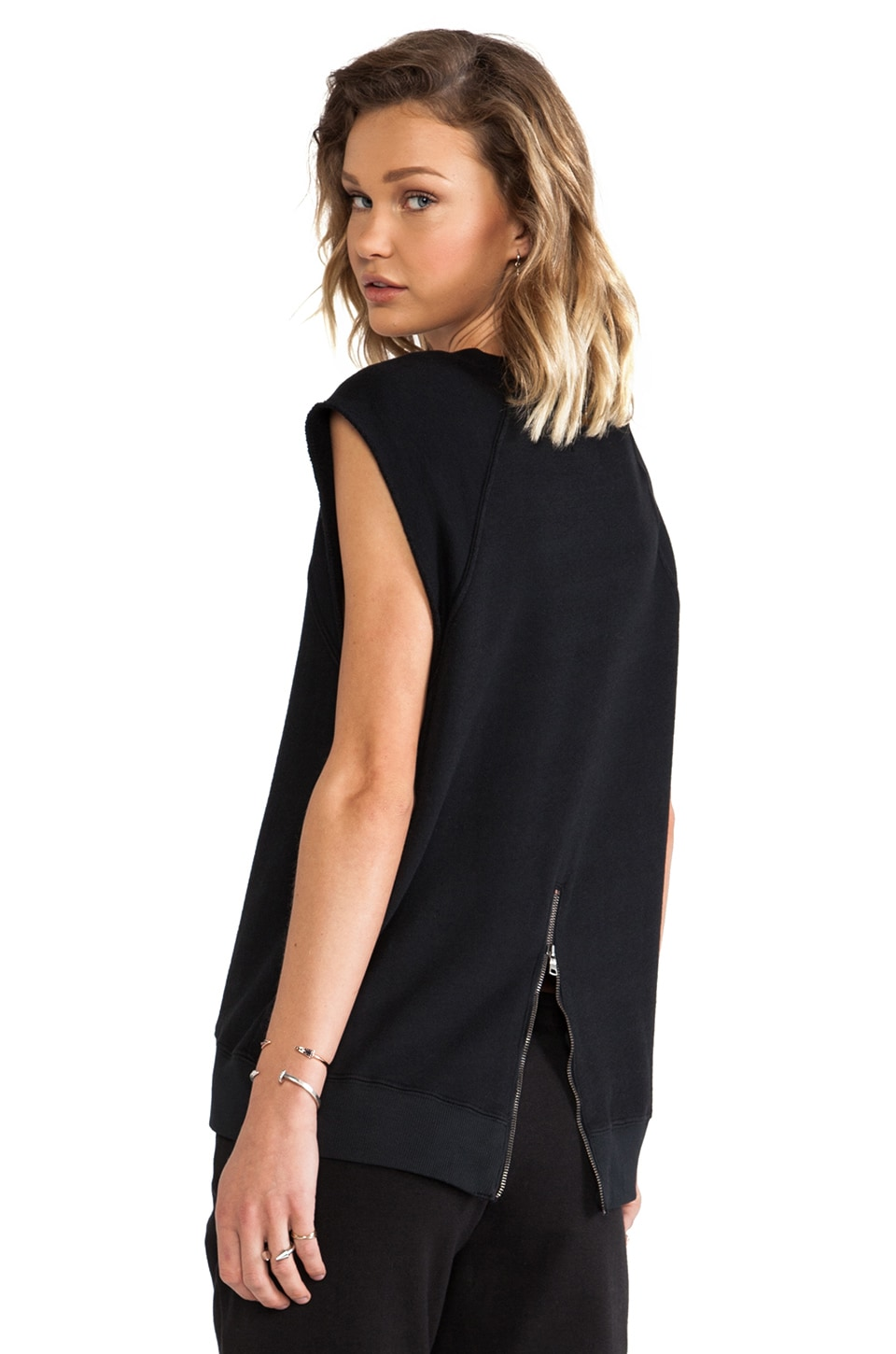 Pam & Gela Hi-Lo Short Sleeve Sweatshirt in Black