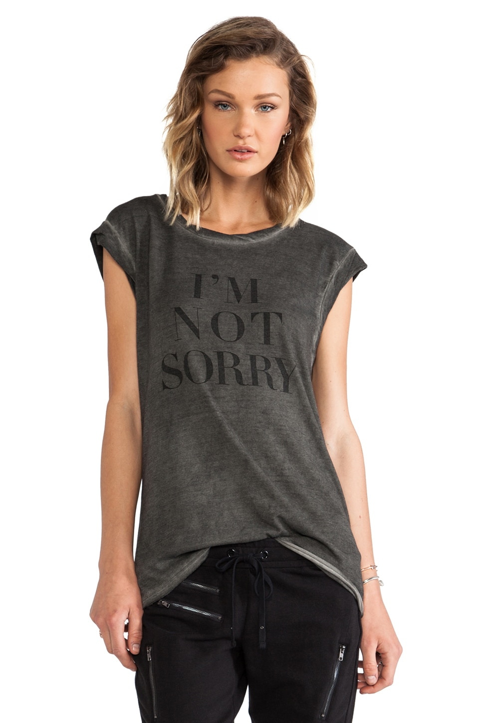 Pam & Gela I'm Not Sorry Twisted Seam Muscle Tee in Antique Wash
