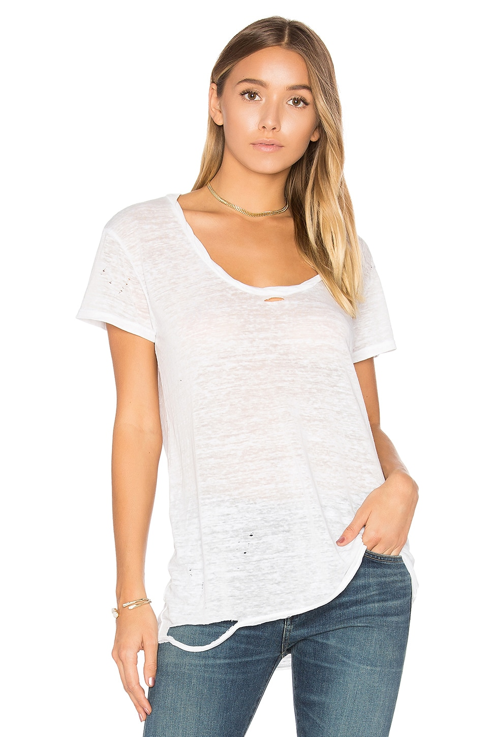 Destroyed Scoop Neck Tee by Pam & Gela