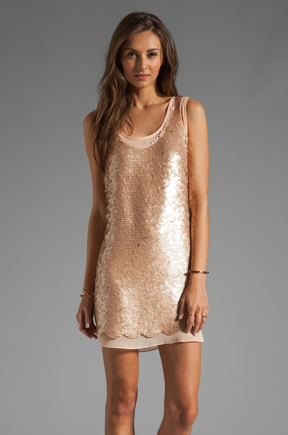 Paper Crown by Lauren Conrad Montauk Sequin Dress in Champagne/Nude